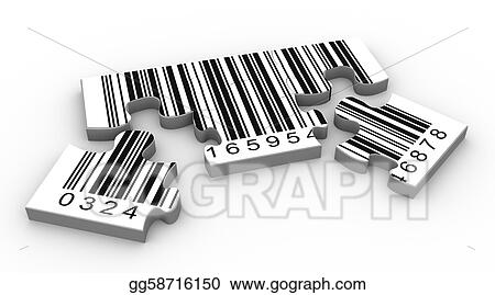 Drawing - 3d barcode puzzle  Clipart Drawing gg58716150 - GoGraph