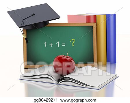 Drawing - 3d blackboard with diploma, graduation cap and