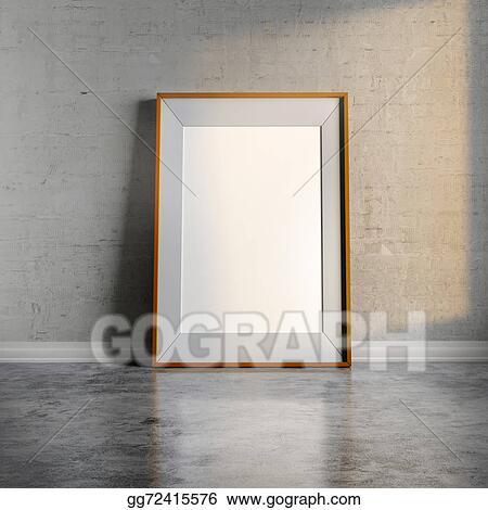 5e184661284 Stock Illustration - 3d blank frame on white vintage brick wall ...