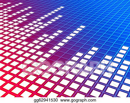 Drawing - 3d blue/red gradient perspective music equalizer