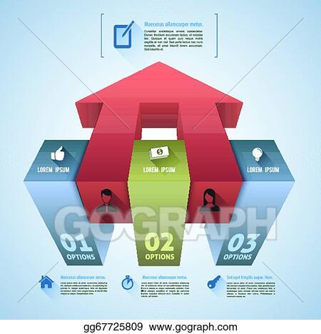 Vector Clipart - 3d box infographics step  Vector