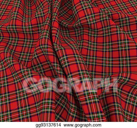 Bright Scottish Tartan Plaid Fabric Cloth