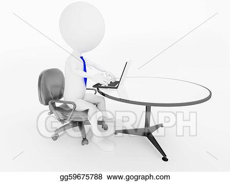 Superb Stock Illustrations 3D Business Man Character Sitting In Creativecarmelina Interior Chair Design Creativecarmelinacom
