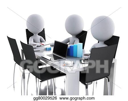 Stock Illustration - 3d business people in a office meeting room ...