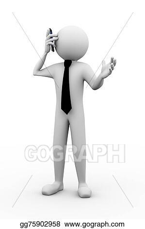 drawing 3d business person on call clipart drawing gg75902958 rh gograph com Call Center Clip Art Call Out Clip Art