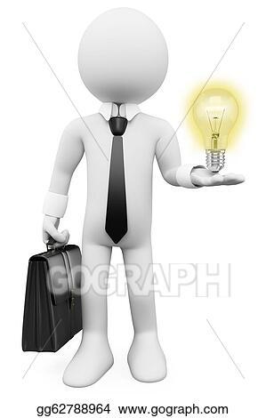 3D Business White People Idea Bulb