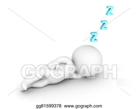 Drawings - 3d character sleeping and z letters  Stock