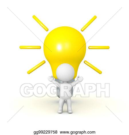 3D Character With A Large Bright Light Bulb Behind Him