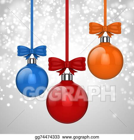 Stock Illustrations 3d Christmas Ball Ornaments With Red Ribbon