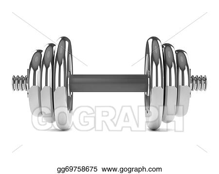 Stock Illustration - 3d chrome weights front  Clipart