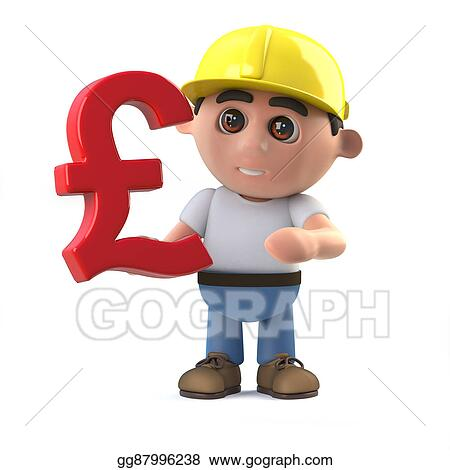 Construction Worker Holding A Uk Pounds Sterling Currency Symbol
