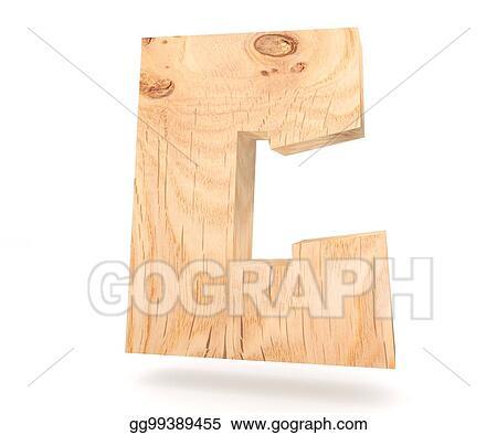 3d decorative wooden alphabet capital letter c