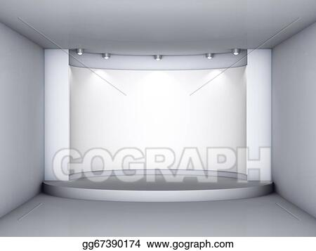 3d Empty Niche With Podium And Spotlights For Exhibit In The Grey Interior