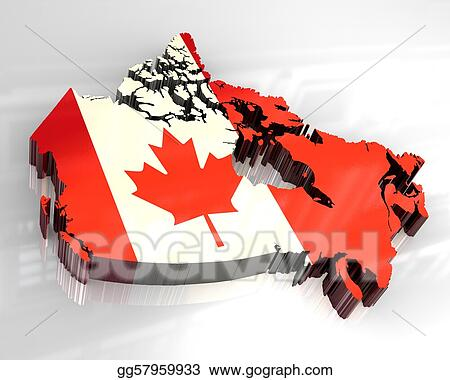 Map Of Canada 3d.Stock Illustration 3d Flag Map Of Canada Clipart