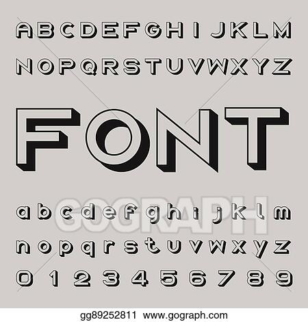Vector Stock - 3d font design, shadow alphabet vector