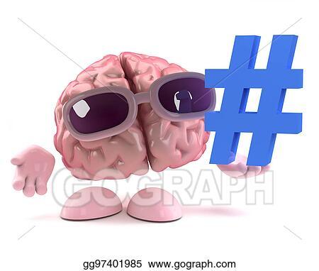 Stock Illustration - 3d funny cartoon human brain character