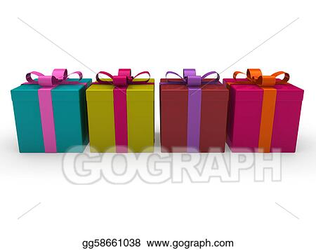 Drawing 3d Gift Box Color Clipart Drawing Gg58661038 Gograph