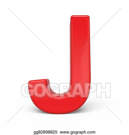 Stock Illustration 3d Glossy Red Letter J Clipart Drawing