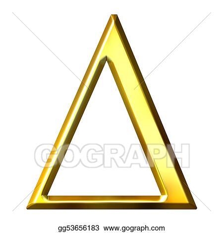 Stock Illustration 3d Golden Greek Letter Delta Clip Art