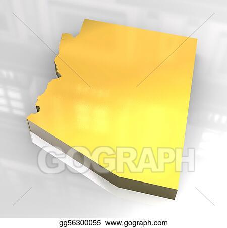 3d Map Of Arizona.Stock Illustration 3d Golden Map Og Arizona Stock Art