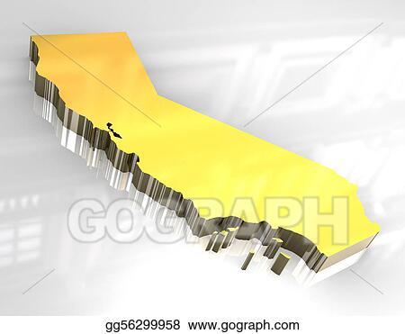 Stock Illustration 3d Golden Map Og California Clipart Drawing