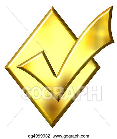 Drawing - 3d golden ticked diamond  Clipart Drawing