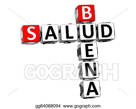 3D Good Health Buena Salud Crossword On White Background