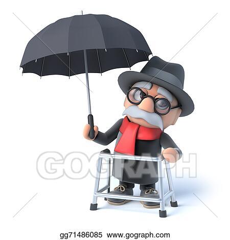 Drawing - 3d grandpa has an umbrella. Clipart Drawing gg71486085 ...