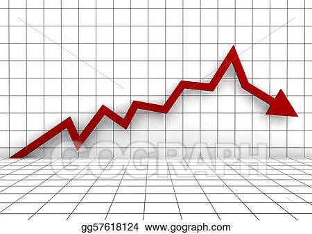 Drawing - 3d graph arrow red down  Clipart Drawing gg57618124 - GoGraph