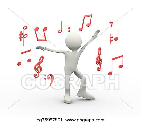 Stock Illustration 3d Happy Singing Dancing Person With Musical