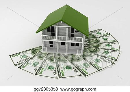 Clip Art 3d House On Pile Of Money Conception Of Growth Of