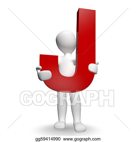 Clip Art 3d Human Charcter Holding Red Letter J Stock