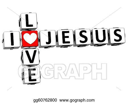 3D I Love Jesus Crossword Block Text