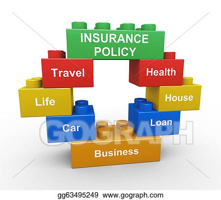 Stock illustration 3d insurance policy child toy block for Insurance construction types