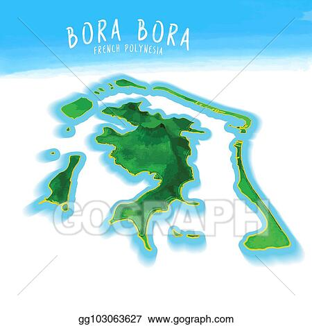 EPS Illustration - 3d island map of bora bora. Vector Clipart ...