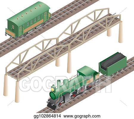 EPS Illustration - 3d isometric retro railway with steam