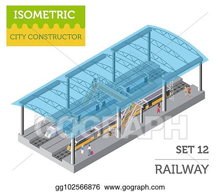 EPS Illustration - 3d isometric train station and city map