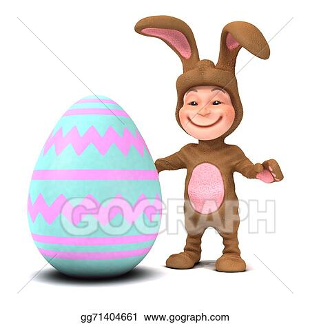 3d Kid in bunny costume with Easter egg  sc 1 st  GoGraph & Stock Illustration - 3d kid in bunny costume with easter egg. Stock ...
