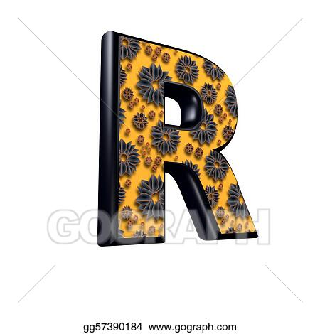 Drawing 3d letter with floral design r clipart drawing 3d letter with floral design r thecheapjerseys Images
