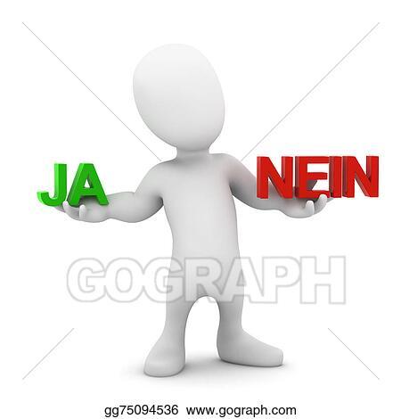 Stock Illustrations 3d Little Man Decides Ja Or Nein Stock