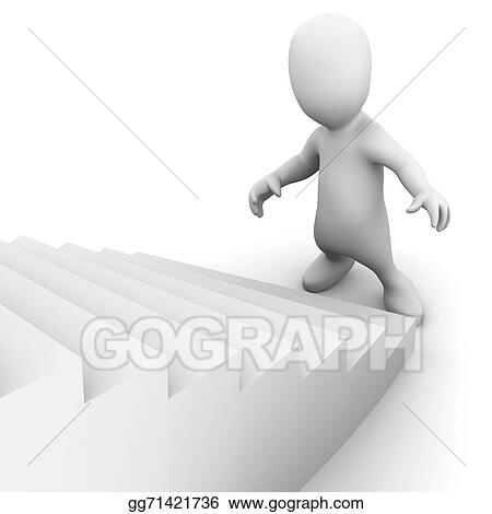 Stock Illustration 3d Little Man Looks Up The Stairs Clipart