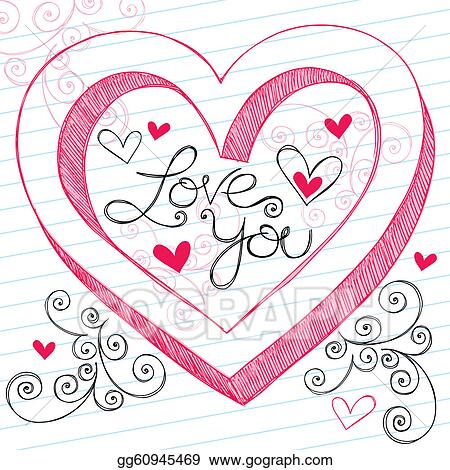 vector stock 3d love you heart valentines doodle clipart