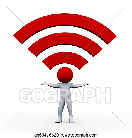 Clip Art 3d Man And Wifi Icon Stock Illustration Gg63476520 Gograph