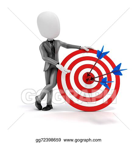 3d Man Businessman With Target And Arrows