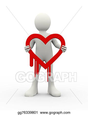 Clip Art 3d Man Holding Heartbleed Icon Stock Illustration Gg76339801 Gograph