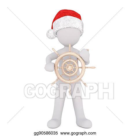 9fc01e3bd9d45 Clip Art - 3d man in a santa hat holding a ships wheel. Stock ...