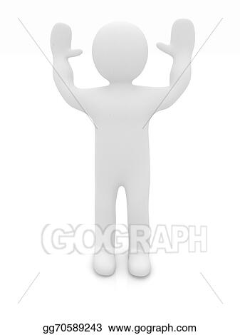 Clip Art - 3d man isolated on white  series: morning