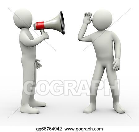 clip art 3d man listening to megaphone news announcement stock
