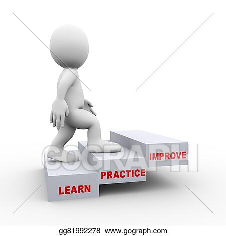 stock illustration 3d man on learn practice improve steps clipart