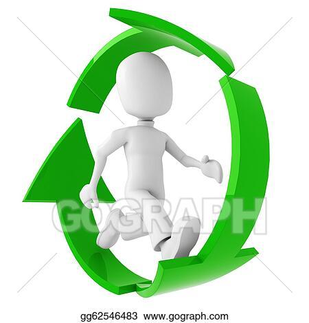 Stock Illustration 3d Man Running Inside The Recycle Symbol